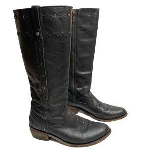 Liberty Black Leather Cowboy Riding Boot